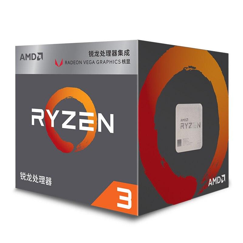 AMD Ryzen 3 2200G R3 2200G 3.5GHz Quad-Core Quad-Thread CPU Processor L2=2M L3=4M 65W APU Socket AM4 New and with fan 2