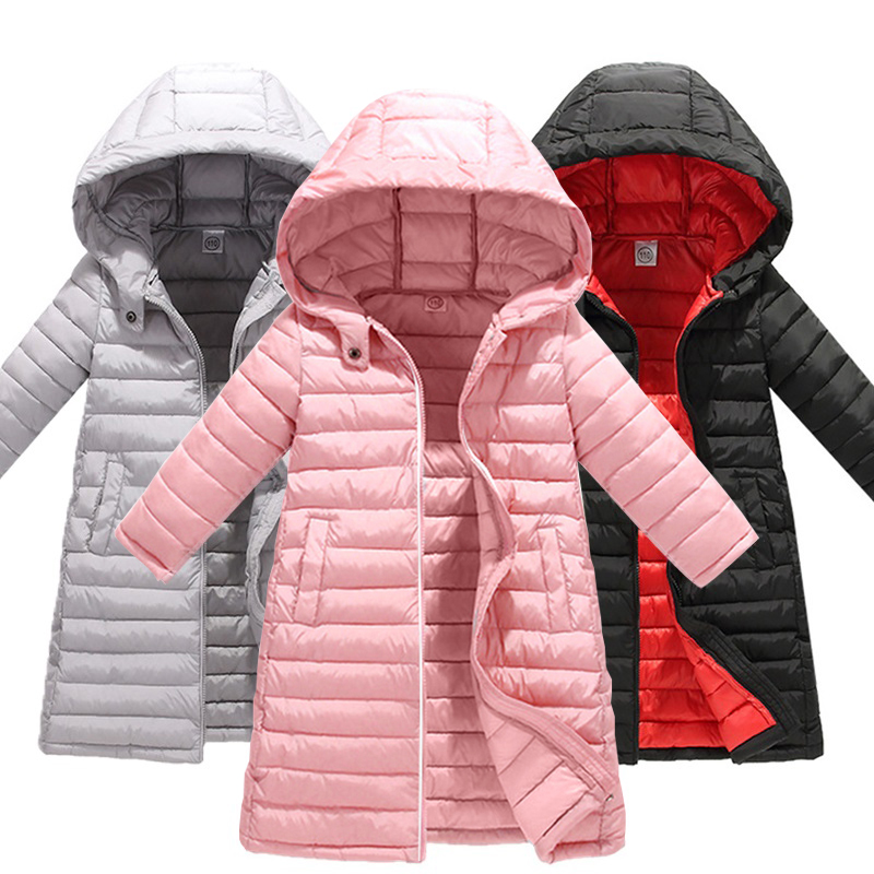 Fashion Children Jackets For Boys Girls Autumn Winter Thickened Hooded Cotton-padded Down Coat Kids Warm Long Outerwear   Parkas