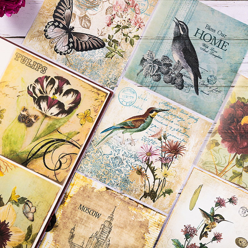 8pcs/Pack Vintage Bird Letters Butterfly Vellum Paper Pack For Scrapbooking Happy Planner Card Making Junk Journal Project