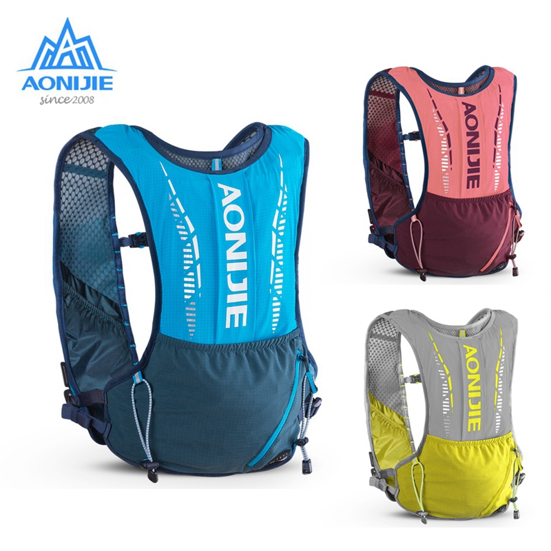 AONIJIE 5L Outdoor Hydration Backpack Sports Vest Ultralight Running Bags Free Soft Water Flask For Camping Hiking Cycling C9102