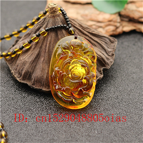 Rose Flower Pendant Beads Necklace Chinese Natural Organic Amber Amulet Charm Jewellery Fashion Accessories Gifts For Women Men