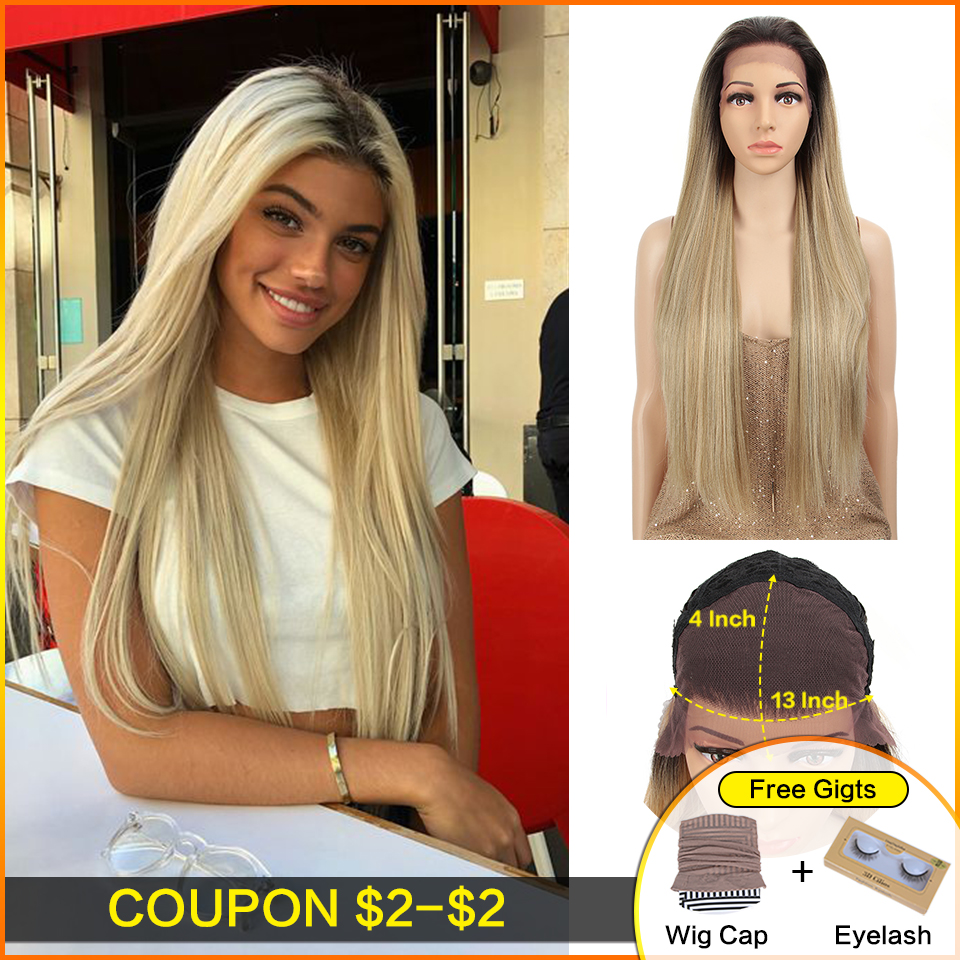 Bella Straight 13*4Lace Front Wig Dark Roots Ombre Platinum  Synthetic Heat Resistant Fiber Natural Hairline For White Women Wig