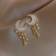 New Arrival Rhinestone Trendy Geometric Dangle Earrings Gold Color Metal Moon Star Shape Elegant Party Jewelry For Women