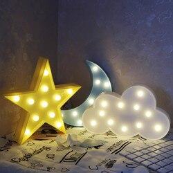 Звездный светильник облако Луна ночной Светильник СВЕТОДИОДНЫЙ 3D светильник подарок игрушка для малышей Детский ночсветильник толилет ла...