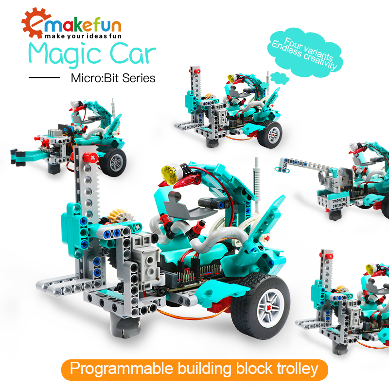 Magic Car Robotics Educational Kits Diy Kit For Magic :Bit ,Support Makecode Graphical Software, Bluetooth And APP Control