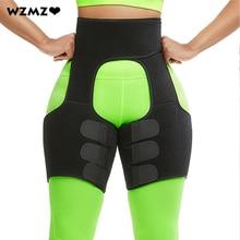 цена на 3 in 1 Neoprene Waist Trainer Body Tummy Control Shapewear Bodysuit Women Hot Sweat Fat Burning Slim Thigh Trimmer Leg Shapers
