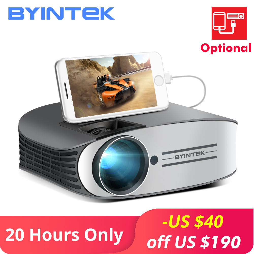 BYINTEK Brand MOON M7 200inch Home Theater HD Video LED Projector for Iphone Smart Android Mobile