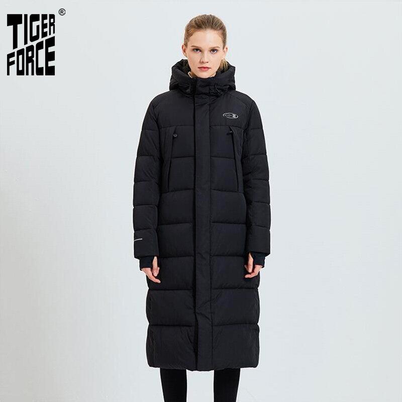 Tiger Force 2019 Women's Winter Jacket Woman Long Coat Female Fashion Casual Parkas Warm Hooded Overcoat Women's Jacket