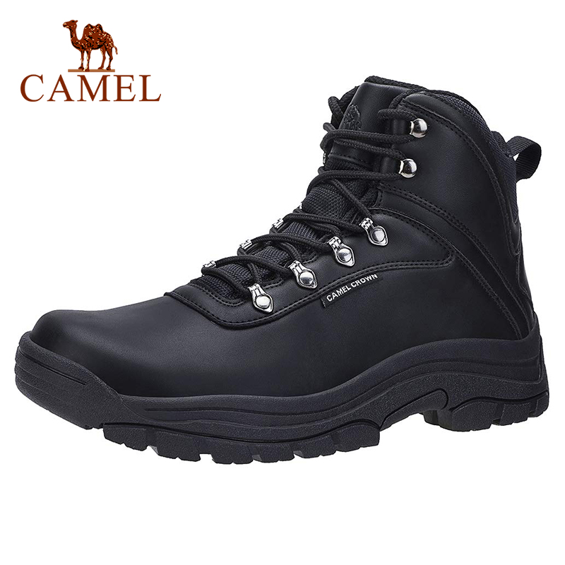 CAMEL Men High Top Hiking Shoes Durable Waterproof Anti-Slip Outdoor Climbing Trekking Shoes Male Leather Boots Eur 40-46