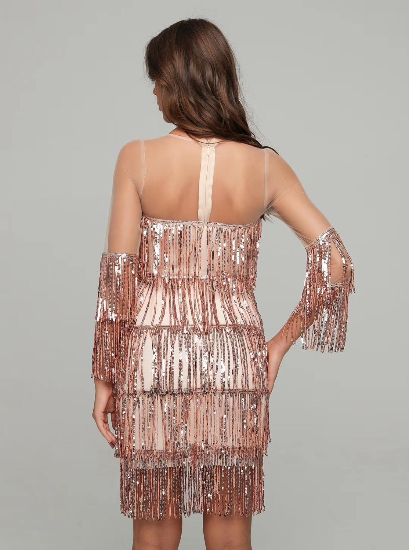 Vendita Calda Sexy O Collo Della Maglia Paillettes Donne Del Vestito 2020 da Sera Del Progettista Del Vestito da Partito Vestido - 5