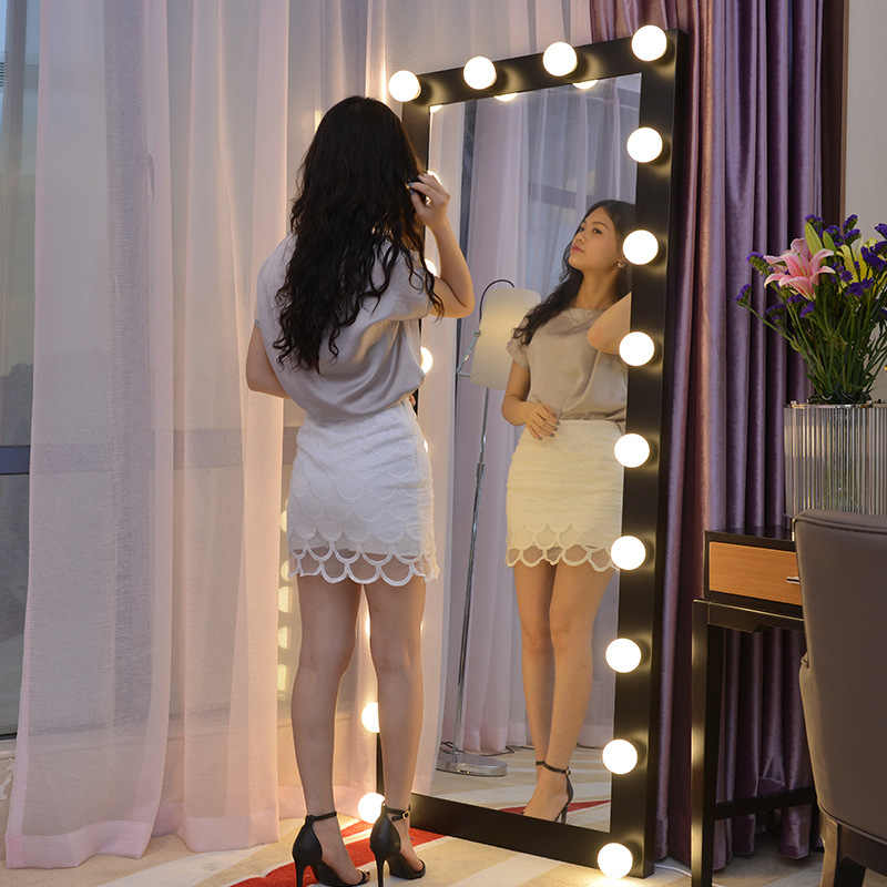 Big Size Dressing Mirror Full Length Led Bulbs Floor Vanity Makeup Mirror Aliexpress