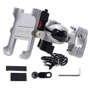 Image 4 - Держатель для телефона мотоциклетный из алюминиевого сплава с зарядным устройством USB