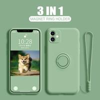 LOVECOM Ring Halter Hand Strap Telefon Fall Für iPhone 13 12 11 Pro Max XR XS Max 7 8 Plus X Weiche Flüssige Silizium Plain Zurück Abdeckung