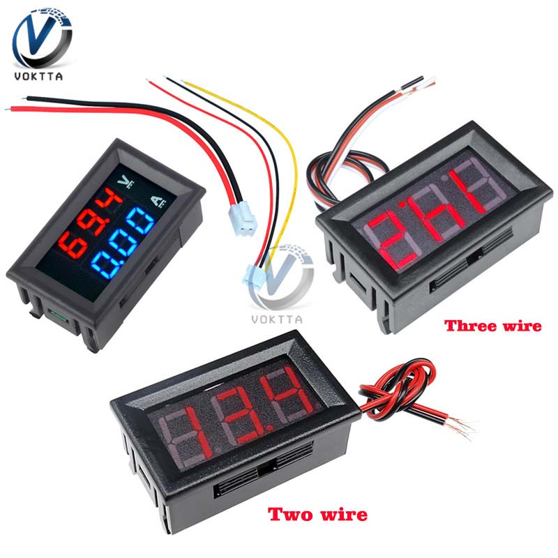 DC 100V 10A 0.56 Inch Blue Red Dual LED Display Mini Digital Voltmeter Ammeter Panel Amp Volt Voltage Current Meter Tester