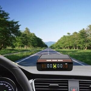 Image 2 - Inteligentny System monitorowania ciśnienia w oponach TPMS Solar Power cyfrowy wyświetlacz LCD systemy alarmowe w samochodzie ciśnienie w oponach
