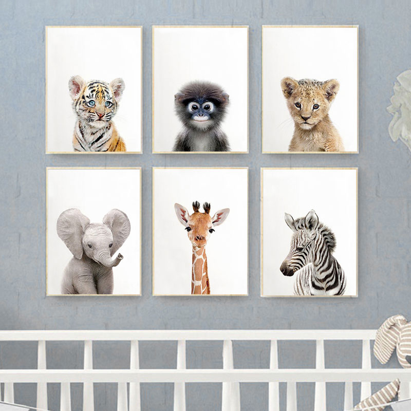 Toddler Animal Wall Art Tiger Lion Posters and Prints Elephant Giraffe Canvas Painting for Kids Room Orangutan Zebra Picture