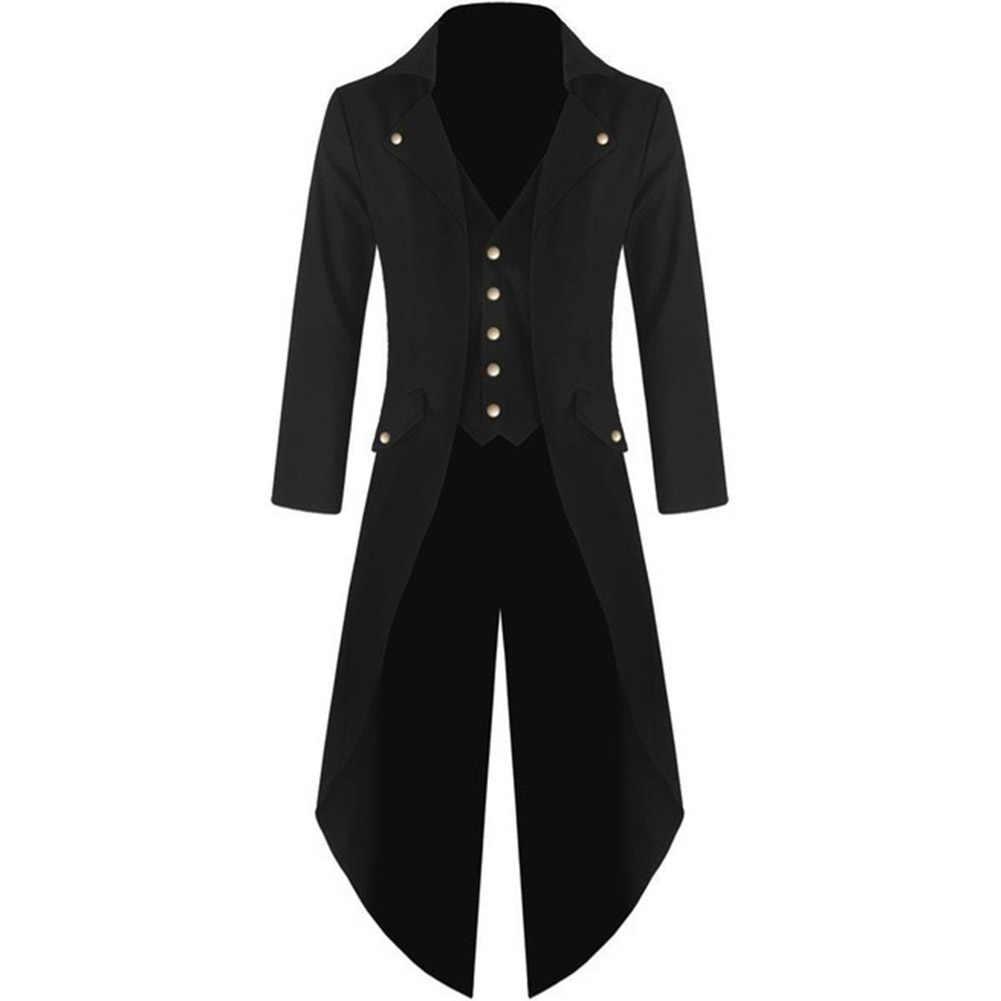 Mannen Effen Kleur Blazer Retro Gothic Knop Tailcoat Formele Blazer Zwart Rood Groen Paars Smoking Party Veste Kostuum Homme
