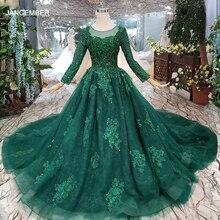 HTL257 зеленые дешевые вечерние платья 2020 с поездом Индивидуальный размер o образным вырезом с длинными рукавами а силуэта для матери невесты