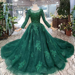 Image 1 - HTL257 Green Cheap Evening Dresses 2020 With Train Custom Size O Neck Long Sleeves A Line Mother Of Bride