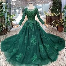 HTL257 vestido de noche barato, color verde, con tren, talla personalizada, cuello redondo, manga larga, línea A, de la novia para madre, 2020