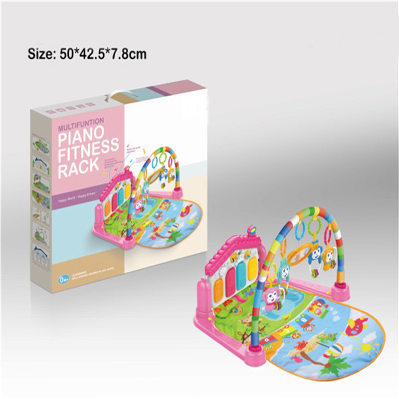 Kick And Play Piano Gym Mat Rug Music Light Fitness Mat Multi-functional Fitness Rug Baby Game Blanket