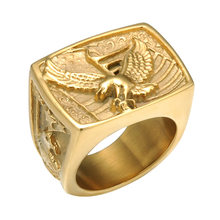American Bald Eagle Ring for Men Gold Stainless Steel Signet Ring Hiphop Motorcycles Jewelry Bird Ring(China)