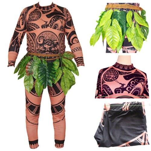 Halloween Adult Mens Kid Moanas Maui Tattoos T Shirt Pants Cosplay Costume Cosplay
