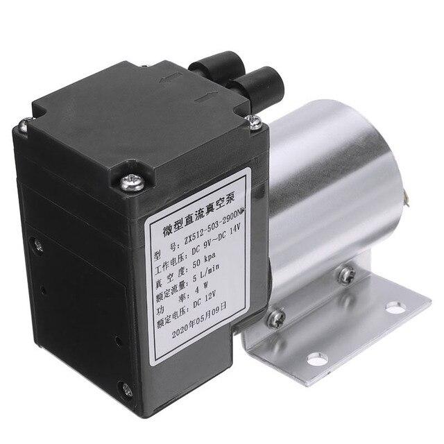 Mini bomba de aire de vacío eléctrica, bomba de diafragma de succión de alta presión, 5l/min, 80kPa, CC, 12V, con soporte para la industria química, 1 ud.