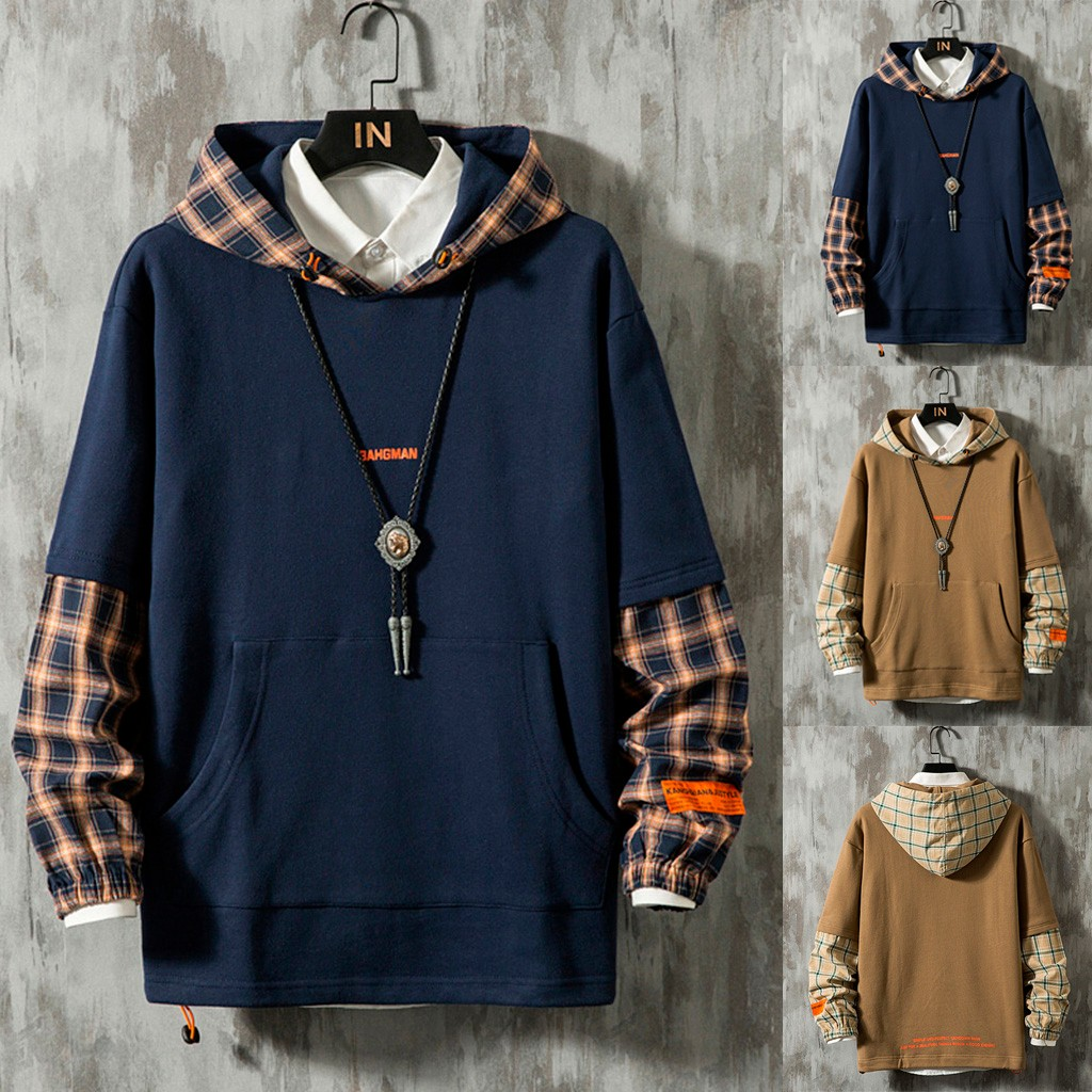 Men Hooded Lattice Stitching Fake Two Long-Sleeved Guards Fashion Comfortable Sweatshirt Top M1009