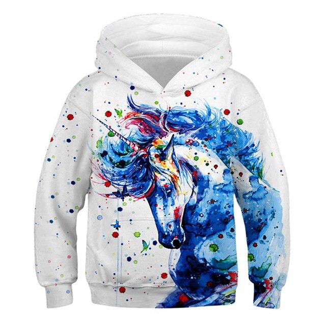 Модные толстовки с объемным единорогом; Толстовка для девочек и мальчиков с принтом радуги, лошади, животных; Детская толстовка с длинными рукавами; Осенняя детская одежда