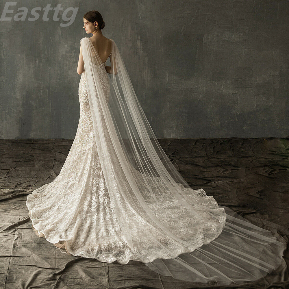 Cloak Shawl Top-Cape Wedding-Accessories Diamond Tulle Cathedral-Length White Champagne
