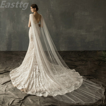 White Ivory champagne Wedding Accessories Diamond top Cape Bridal Shawl Cathedral Length Tulle Long Veil Cloak - discount item  19% OFF Wedding Accessories