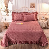 Crystal Velvet Thicken Bedspread Fitted Sheet Solid Color Warm bed cover Coverlet (or Pillowcase) King queen size Bedding