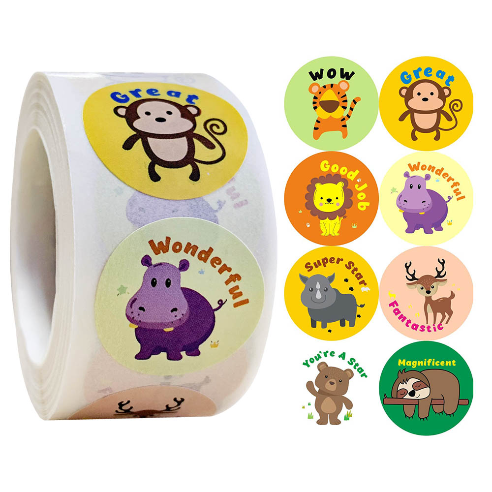 500 Pcs/roll Cartoon Animals Stickers with Cute Reward Stickers for Journal Scrapbooking Teacher Encouragement Reward Stickers