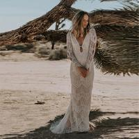 Vestido De Noiva Lace Boho Wedding Dresses for Bride 2020 Long Sleeve Beach Bridal Gowns Robe De Mariee