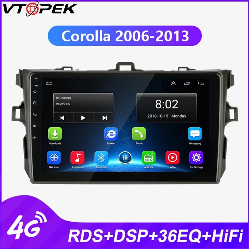 Rádio automático do jogador dos multimédios de vtopek android para toyota corolla e140/150 2006-2013 navegação gps 4g rede wifi rds dsp