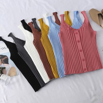 Womens Sexy Knitted Top Buttons U-Neck Sleeveless Short Tank Vest Solid Top Vest Strap Short Tops Casual T Shirt