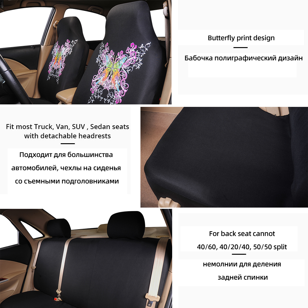 Universal Car Seat Covers Pink Butterfly fit 40//60 50//50 60//40 for SUV VAN SEDAN
