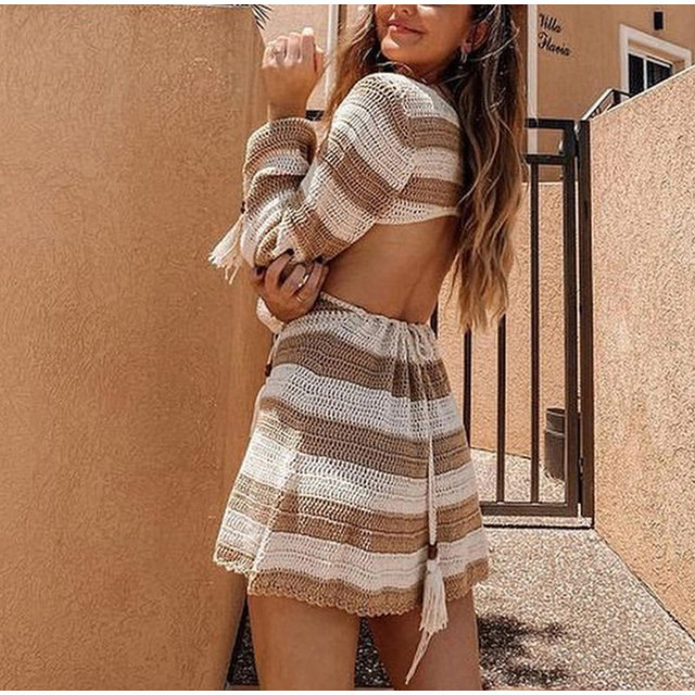 Summer Knitted Hollow Out Backless Women Dress Deep V-Neck Long Sleeve Lace Up Female Mini Dresses Sexy Slim Casual Lady Clothes 4