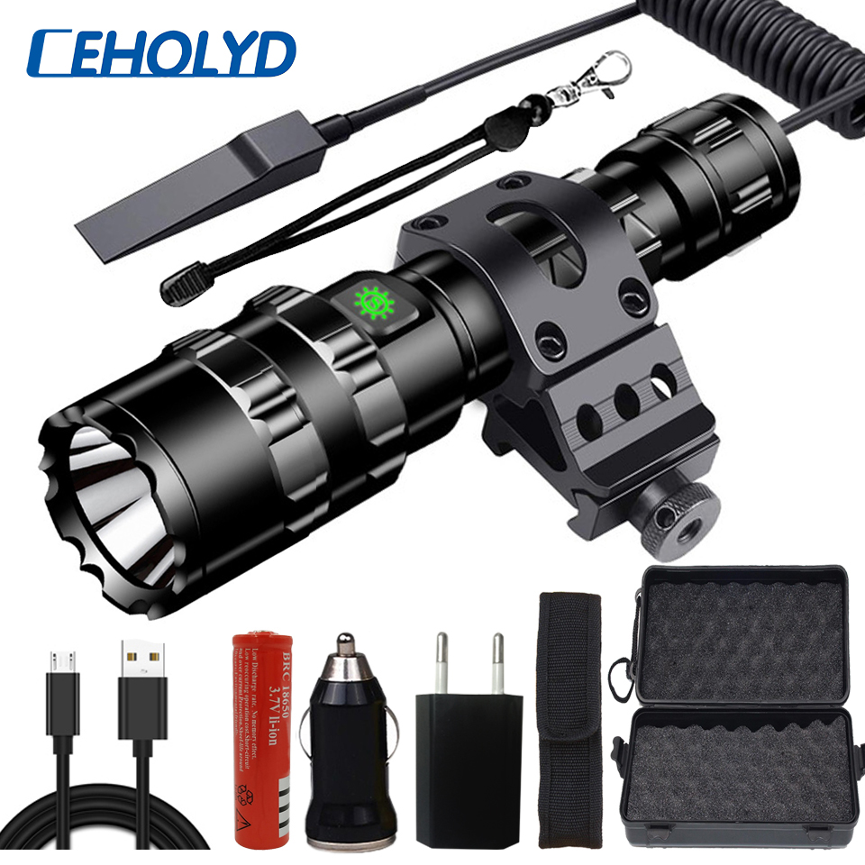 6500Lums Professional Tactical LED Flashlight Torch For Hunting Night Scout Set L2 Fish Light USB Rechargeable Waterproof