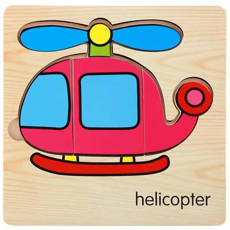3D деревянные головоломки, игрушки для детей, Деревянные 3d Мультяшные головоломки с животными, интеллектуальные детские развивающие игрушки для детей - Цвет: Кофе