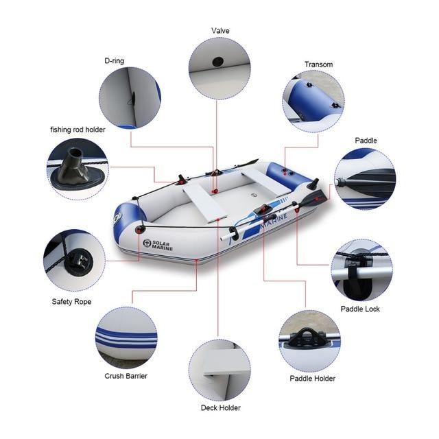 Bateau de pêche gonflable en PVC, 3 couches, stratifié, résistant à l'usure, pour 2 à 6 personnes, canoë à rames 5