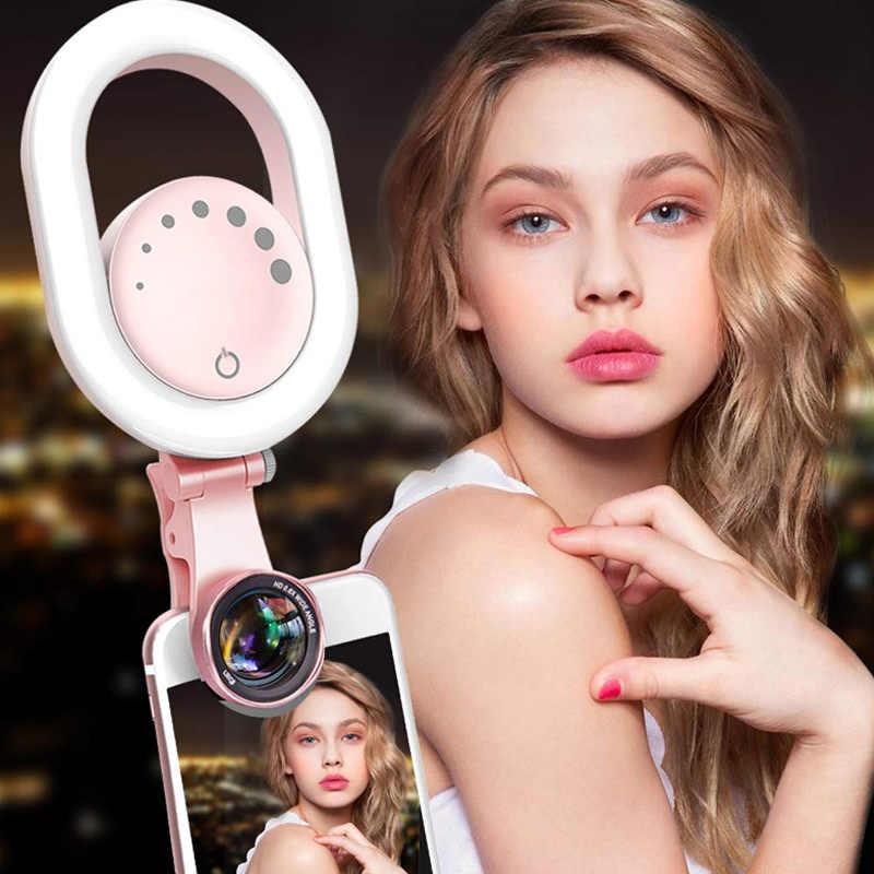 Selfie مصباح مصمم على شكل حلقة واسعة زاوية عدسة 32 كاميرا ليد ماكياج مشبك مصباح ملء أضواء للهاتف GK8899