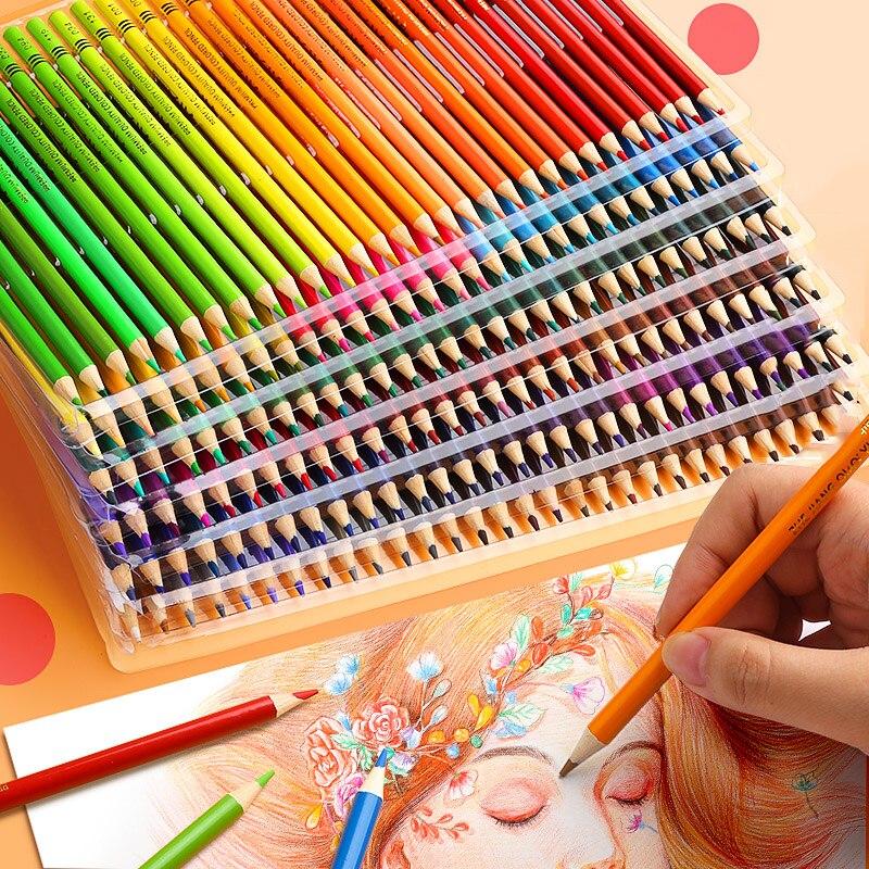Lápis um óleo da pintura fazer esboço 48/72/120/160 núcleos núcleos da lápis profissional aquarela pintura desenho colorido de madeira