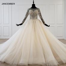 HTL1149 robe de bal robe de mariée 2020 dentelle o cou à lacets dos corset robe de mariée à manches longues perle