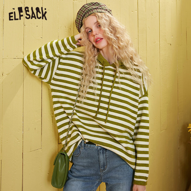 ELFSACK Apricot Striped Drawstring Hooded Knit Sweater Women 2020 Spring Green Long Sleeve Loose Casual Jersey Ladies Daily Tops