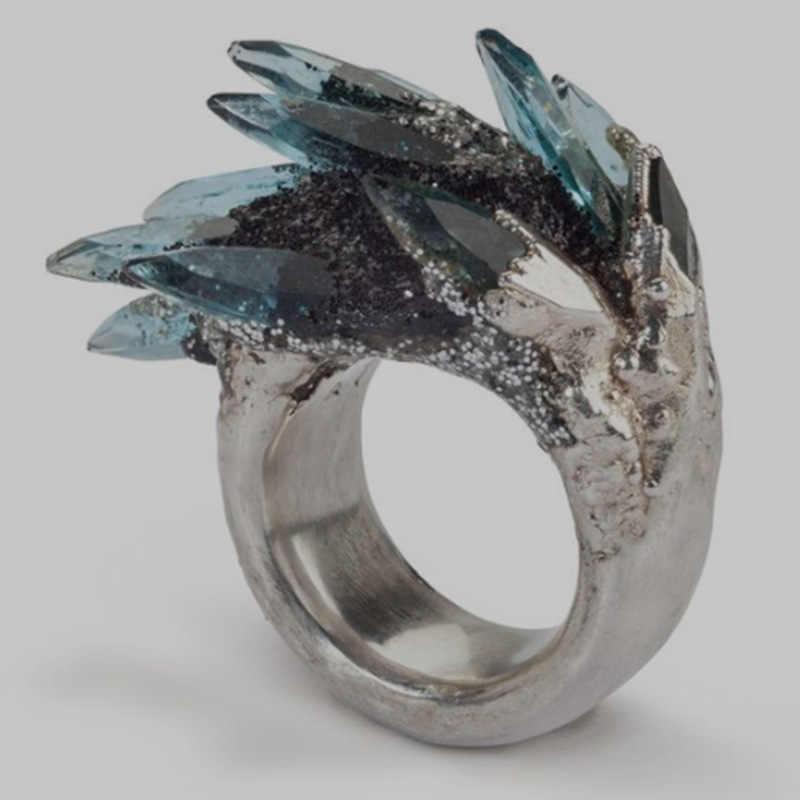 חדש קסם נשים כסף צבע תכשיטי טרנדי אבן אופנה יפה זירקון קריסטל טבעת לנשים ליידי חתונה חמוד יד תכשיטים