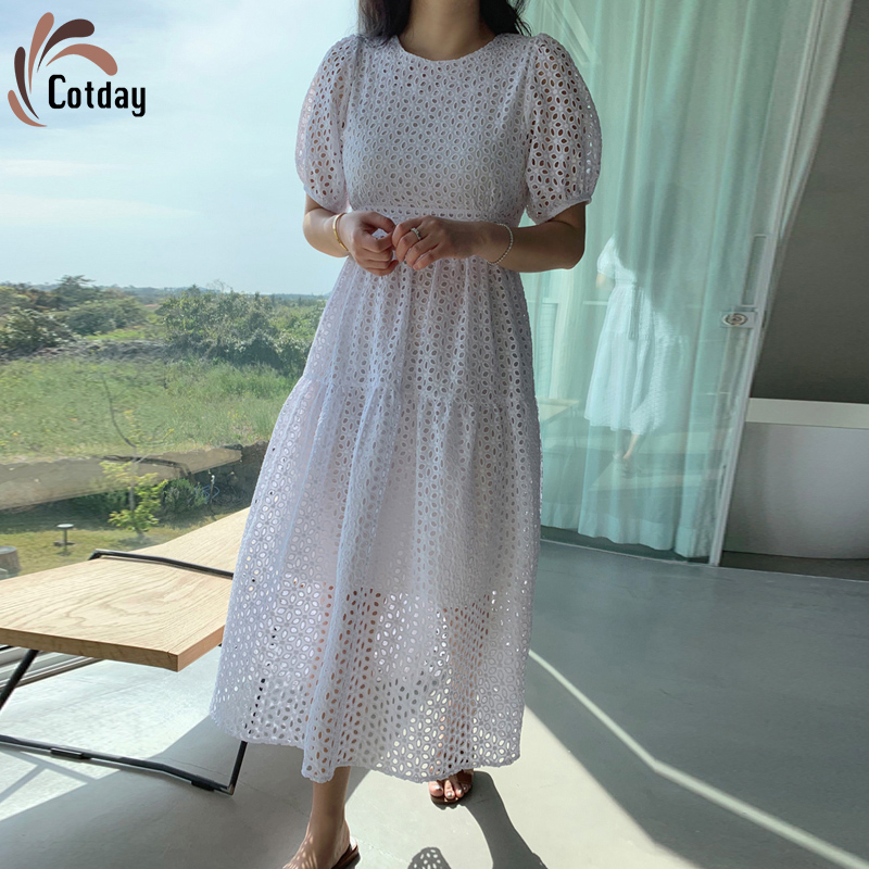 Хлопковое платье с круглым вырезом и пышными рукавами, привлекательное белое платье с вырезами и высокой талией, лучшее весеннее платье 2020, ...