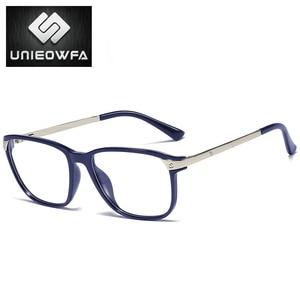 Image 4 - Optik reçete gözlük çerçevesi erkekler açık miyopi gözlük çerçevesi erkek şeffaf gözlük çerçevesi alaşım Tr90 gözlük marka
