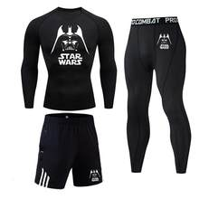 winter thermal underwear set Star Wars Sportswear Suits Tight Gym Fitness Training and Pants Male Jogging compression set(China)